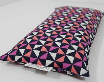 Large Rectangle Rice Bag - 6 x 12 inches, hot or cold therapy pack, rice heating pad, navy, coral, purple, white, triangle pattern