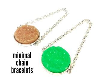 statement bracelet, faux druzy bracelet, chain bracelet, jewelry handmade, handmade bracelets, silver bracelets, unique bracelet handmade