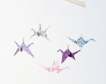 Purple & pink origami crane mobile, Fabric origami mobile, Crib mobile, developmental hanging mobile, baby girl nursery, paper crane
