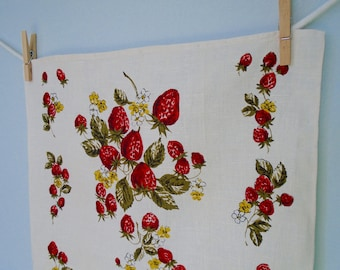 Vintage Linen Kitchen Towel/Strawberry