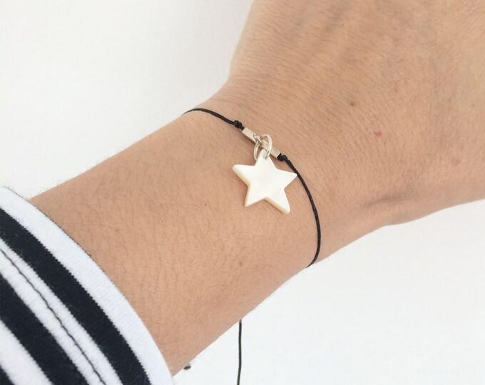 Charm bracelet sterling silver -mother of pearl charm bracelet -simple bracelet - star bracelet -adjustable beaded bracelet - woman bracelet