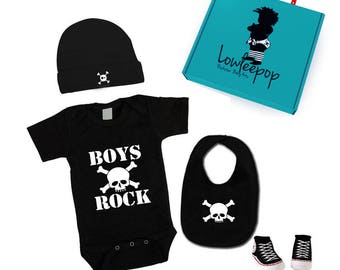 ROCKSTAR BABY KIT Boys Rock Skull Onesie, hat, Sneaker booties, bib & optional gift box