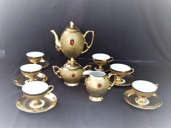 & Coffee or tea set of Flores Bavaria gold and imitation stones