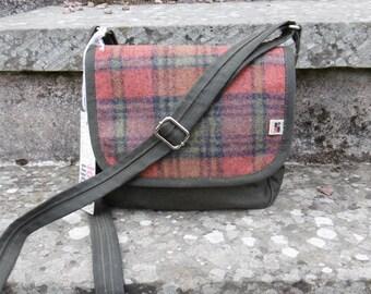 Waxed canvas and plaid messenger bag