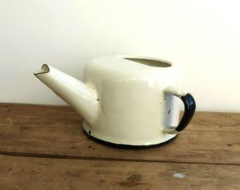 Vintage Enamel Cup / White Enamelware / Enamel Mug / Rustic Home Decor / 1970s / White Cup enamel kettle Enamel Pot jug nursing cup