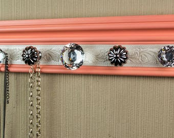 "READY TO SHIP  Wall necklace holder. Jewelry organizer w/coral & white shimmery section.Wall closet organization jewelry storage 26"" 9 Knobs"