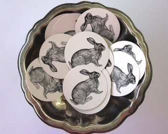 Rabbit Tags Round Paper Gift Tags Set of 10