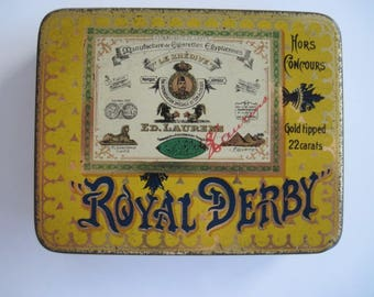 Royal Derby Gold Tipped Egyptian cigarette tin (20/empty) by Ed Laurens c.1930