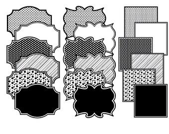 Frame clip art, Polka dot frames, Black frames, black stripes frame, black border frames, clipart frames, Commercial Use, Instant Download