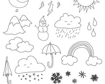 Set of Weather Illustrations - Art Outlines Full Page 20 Original Hand Drawn Outline Illustrations