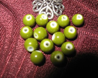 50 way olive color 6 mm howlite stone beads
