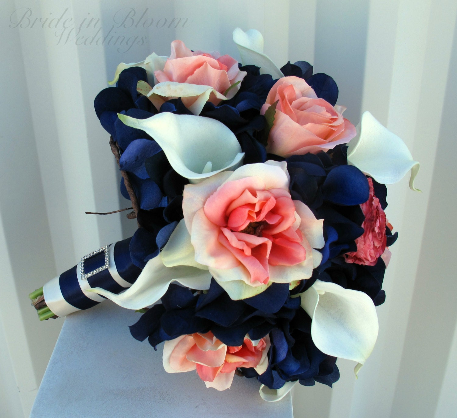 Wedding bouquet coral navy bouquet calla lily rose bridal