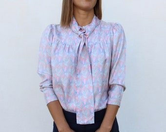 Vintage Pussy Bow Shirt / Pink silk blouse / ascot top / pleated back shirt / Floral Pastel pattern / tailor made/ 60's