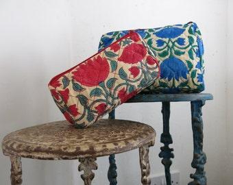 Lotus Flower Wash Bag Hand Block Printed on Organic Cotton