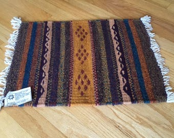 Vintage Hand Woven Wool Oaxaca Rug Mat/textile art/signed by weaver