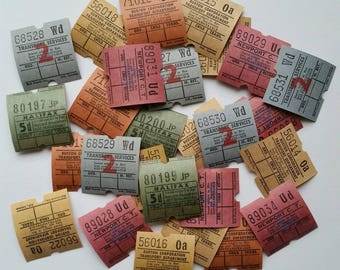 20 x Vintage British bus tickets. Mixed colours. Ephemera
