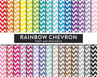 Rainbow Chevron Digital Paper, Chevron Digital Paper, Chevron Scrapbook Paper, Chevron Pattern, Chevron Printable (DP.13)
