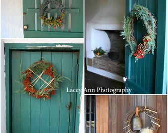 Holiday Doors with Wreaths Photo Set Christmas Adobe home decor Wall art Vintage