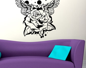 Vinyl Wall Decal Sticker Rose and Wings Tattoo 1467m