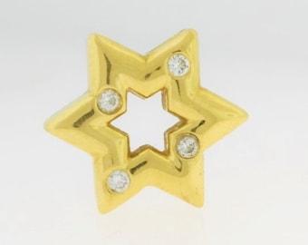 14k Gold Star Diamond Pendant