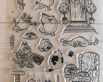 cat stamps, kitten stamps, cat greeting cards, gift for cat lover, cat furniture, furniture stamps, siamese cat stamps, cat toy stamps, HKK3