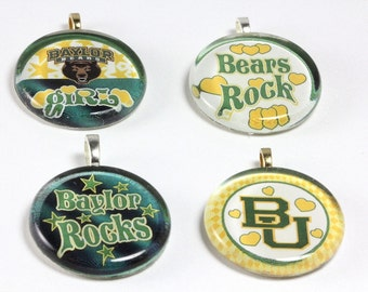 School Team Spirit Pendant, Baylor University, Baylor Bears, School Jewelry, Glass Pendant