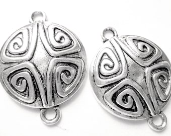 12 Antique silver jewelry connectors earring findings boho chic gypsy jewelry 086Y earring components 21mm-(YY2)
