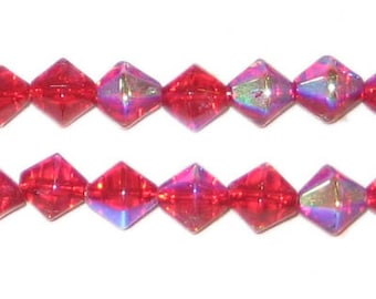8mm Red Bi-cone AB Finish Fire Polish Glass Bead