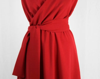 Baylis & Knight Ruby Red WRAP Bombshell Short Sleeve Midi Party Dress Vintage  Dita Retro Classic 40's Pin Up