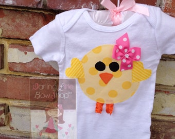 Easter Bodysuit or Shirt -- Sunshiney Day -- hot pink and yellow chick wears her own bow -- bright yellow and hot pink