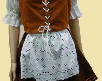 German Beer Wench Ethnic Costume Oktoberfest 4 Piece Lace Front Vest Dress Apron Petticoat Medium Size
