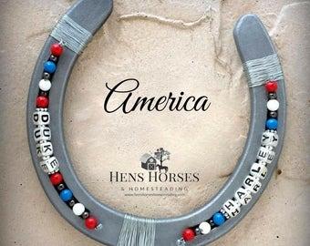 Personalized Horseshoe | America | Horseshoe | Lucky Horseshoe | Beaded Horseshoe | Horseshoe Décor | Horse Décor | Rustic Decor | Two Names