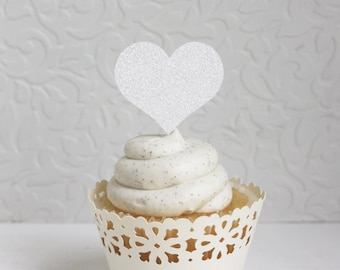 Glitter White Heart Cupcake Toppers (Set of 12)