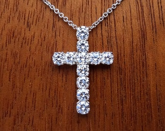 Platinum Diamond Cross Necklace Pendant with Platinum Cable Chain
