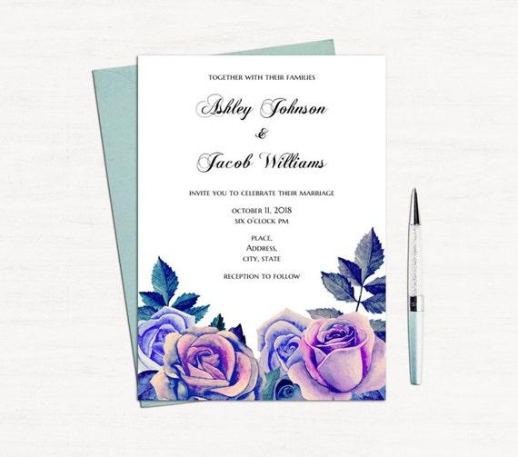 purple roses wedding invitation printable blue flowers invites. Black Bedroom Furniture Sets. Home Design Ideas