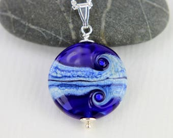 Lapis Blue Glass Bead Pendant, SRA, Lampwork Jewelry, Sterling Silver, Glass Bead Lentil, Lampwork Glass, Swedish Handmade