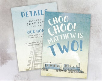 Choo Choo Train Second Birthday Invitations