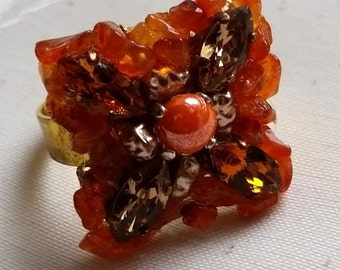"ring ""Thalia"" Swarovski crystal and agate"