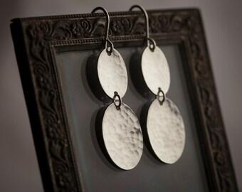 Long Ovals Earrings. Two Hammered Sterling Silver Ovals. Long Silver Earrings. Solid Sterling Silver Handmade Earrings.