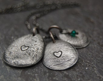 Custom Silver Fingerprint with Heart Imprint -:- Includes Sterling Rolo Chain