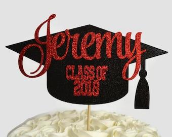 Graduation Cap Glitter Cake Topper - 2018 Grad Personalized Cake Topper- Congratulations - Class of 2018 - Graduation Party Decor - Congrats