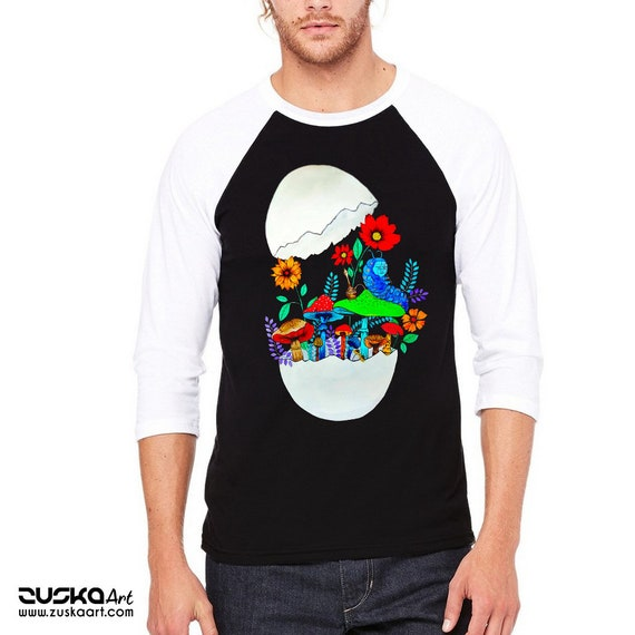 Smoking caterpillar | Unisex Baseball Raglan Shirt | Absolem | Alice in wonderland | Magic mushrooms | Psychedelic art | ZuskaArt