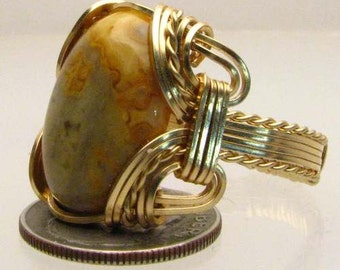 Handmade Artisan 14kt Gold Filled Wire Wrapped Crazy Lace Agate Gemstone Ring