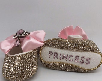 Handmade Swarovski Crystals Personalized Baby Shoes and Baby Hairband Set / Baby Shower Gift/ Unique Gifts for Baby Girl  / Newborn Gift