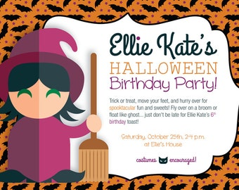 Halloween Birthday Invitation, Costume Party Invitation, Halloween Witch Girl