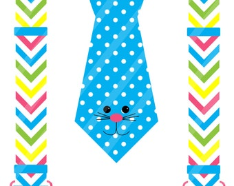 Easter Bunny Dotted Tie with Chevron Suspenders Digital Download for iron-ons,heat transfers, T-Shirts, Onesies, Bibs, Aprons, DIY YOU PRINT
