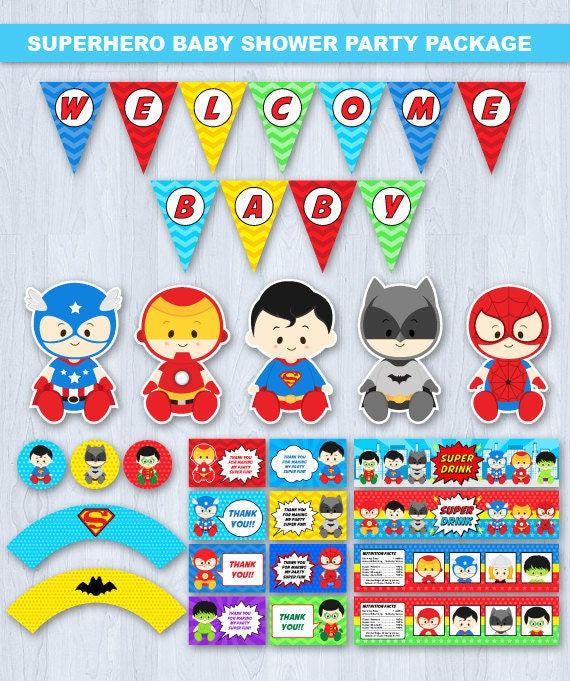 Superhero Baby Shower Superhero Baby Shower Party Package