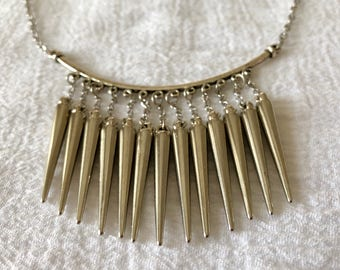 Sliver Plated Spike Necklace, Statement Necklace, Punk Necklace, adjustable necklace, choker, Gifts for her