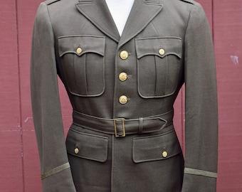 WW2 US Army Officers Regulation Uniform Coat / Jacket Olive Drab Dark 37 R