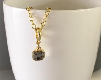 Light grey necklace, light grey pendant necklace, rhinestone necklace, grey necklace, grey pendant necklace